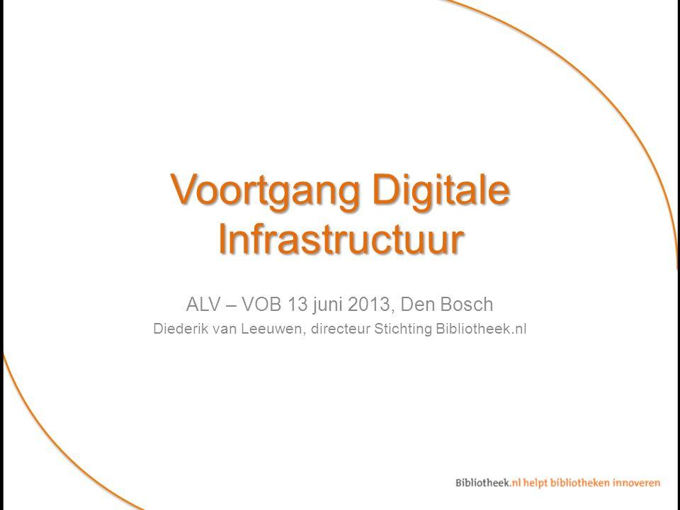 Voortgang Digitale Infrastructuur ALV – VOB 13 juni 2013, Den Bosch Diederik van Leeuwen, directeur Stichting Bibliotheek.nl