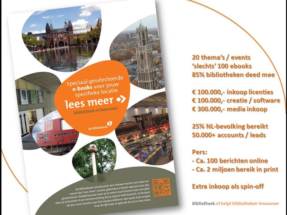 20 thema's / events 'slechts' 100 ebooks 85% bibliotheken deed mee € 100.000,- inkoop licenties € 100.000,- creatie / software € 300.000,- media inkoop 25% NL-bevolking bereikt 50.000+ accounts / leads Pers: - Ca.