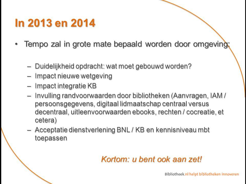In 2013 en 2014 Tempo zal in grote mate bepaald worden door omgeving:Tempo zal in grote mate bepaald worden door omgeving: –Duidelijkheid opdracht: wat moet gebouwd worden.