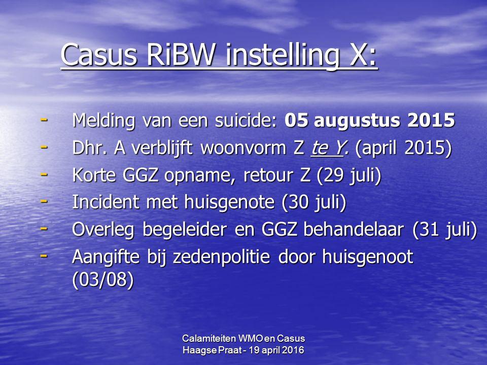 Calamiteiten WMO en Casus Haagse Praat - 19 april 2016 Casus RiBW instelling X: - Melding van een suicide: 05 augustus 2015 - Dhr.