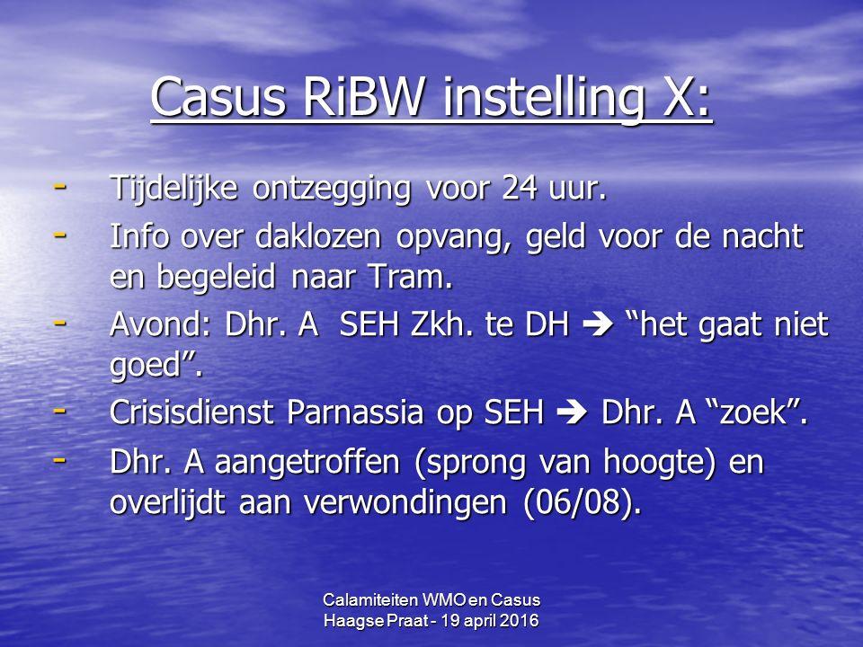 Calamiteiten WMO en Casus Haagse Praat - 19 april 2016 Casus RiBW instelling X: - Tijdelijke ontzegging voor 24 uur.