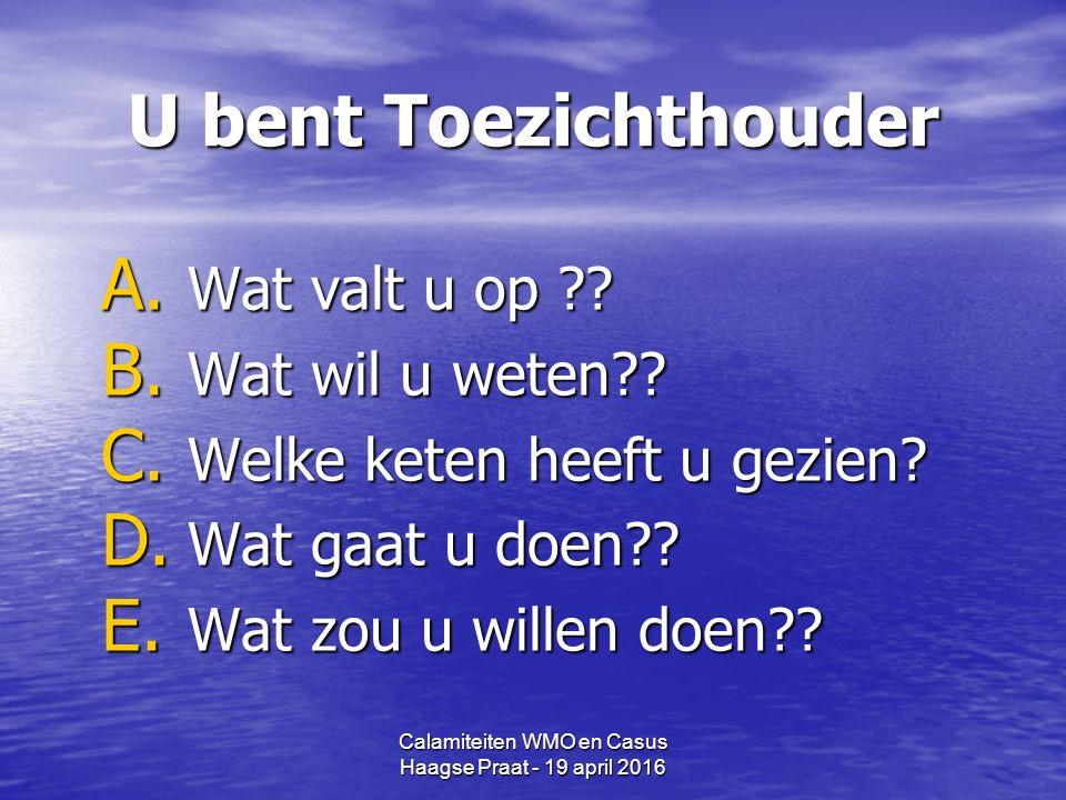 Calamiteiten WMO en Casus Haagse Praat - 19 april 2016 U bent Toezichthouder A.