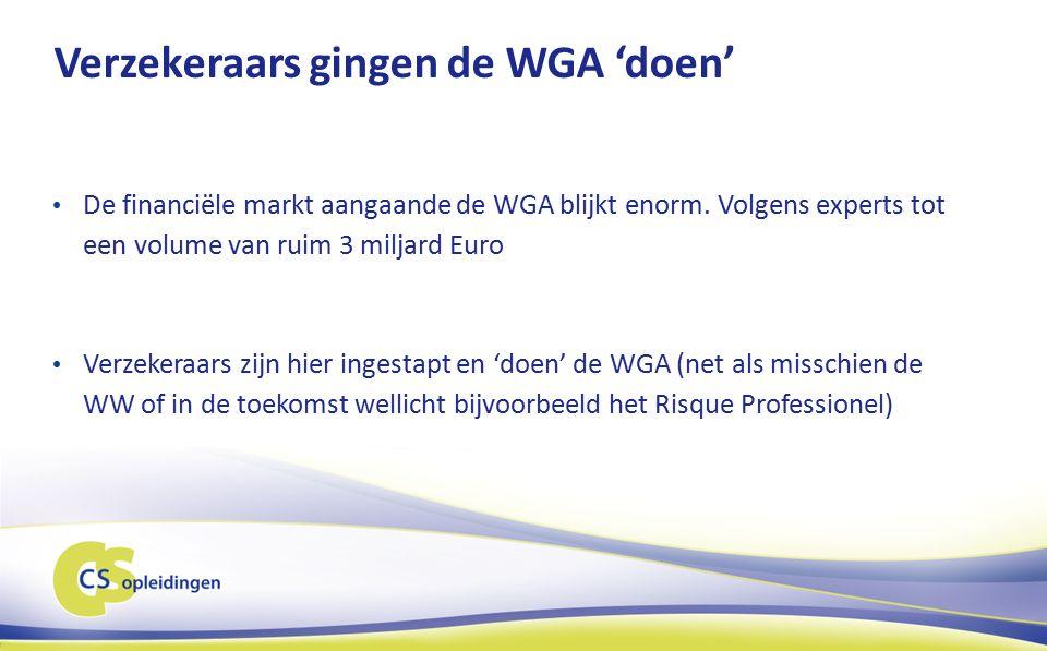 Verzekeraars gingen de WGA 'doen' De financiële markt aangaande de WGA blijkt enorm.