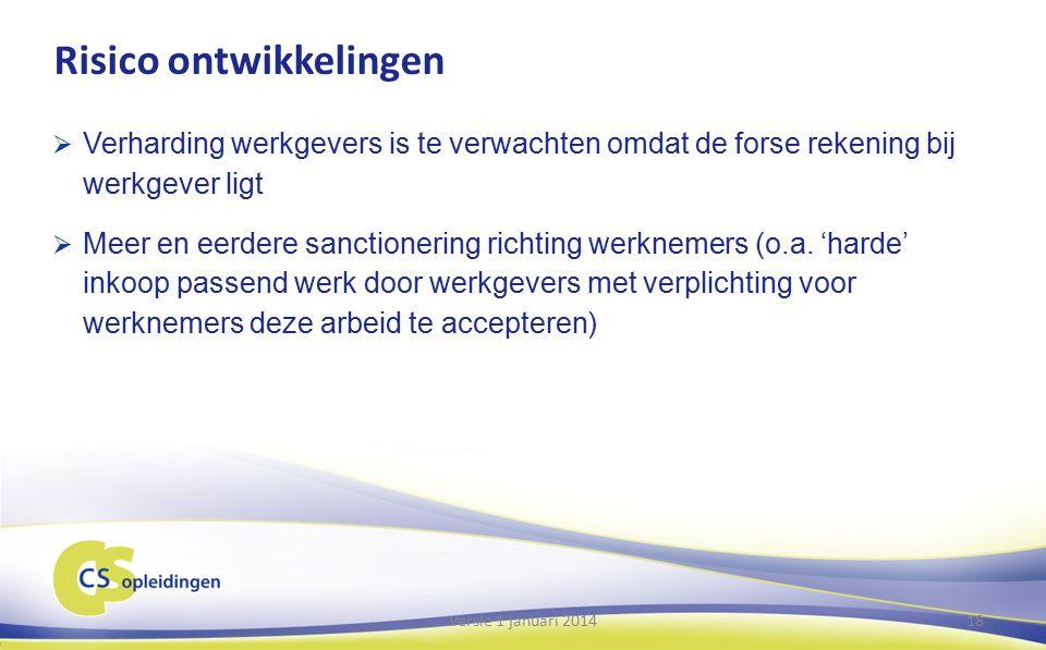 Risico ontwikkelingen  Verharding werkgevers is te verwachten omdat de forse rekening bij werkgever ligt  Meer en eerdere sanctionering richting werknemers (o.a.
