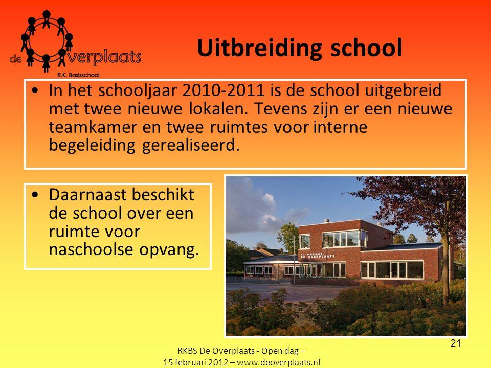 21 Uitbreiding school In het schooljaar 2010-2011 is de school uitgebreid met twee nieuwe lokalen.
