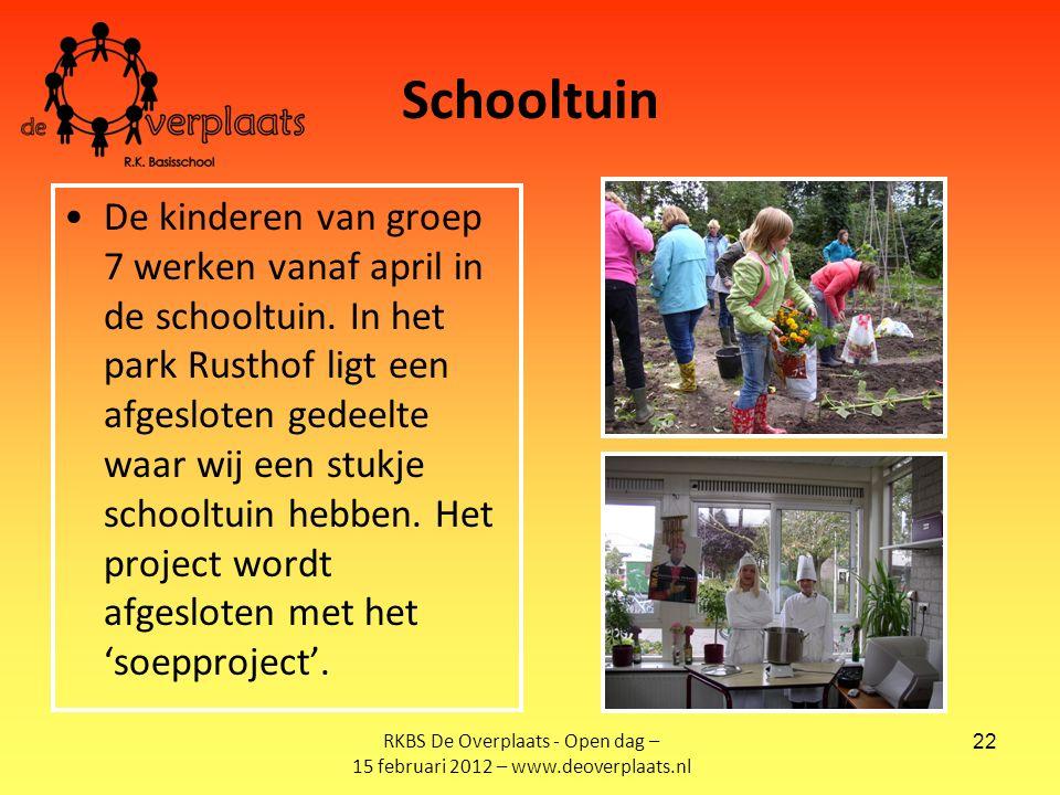 22 Schooltuin De kinderen van groep 7 werken vanaf april in de schooltuin.