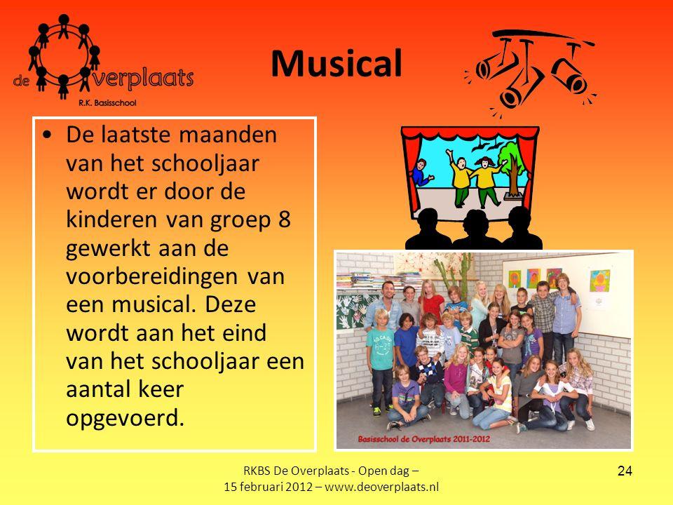 24 Musical De laatste maanden van het schooljaar wordt er door de kinderen van groep 8 gewerkt aan de voorbereidingen van een musical.