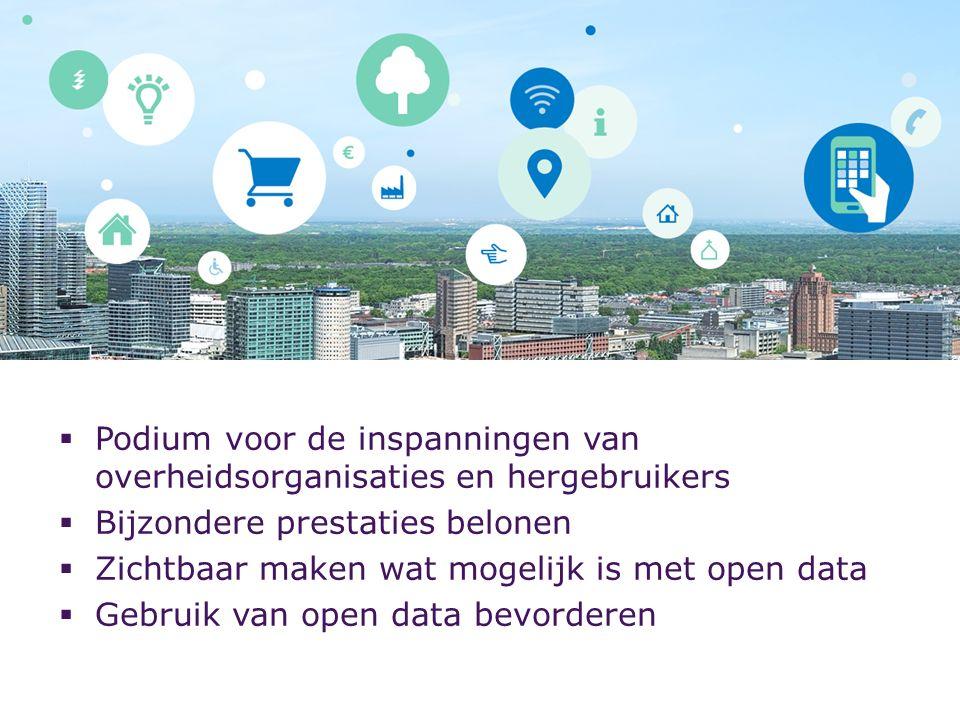  Podium voor de inspanningen van overheidsorganisaties en hergebruikers  Bijzondere prestaties belonen  Zichtbaar maken wat mogelijk is met open data  Gebruik van open data bevorderen