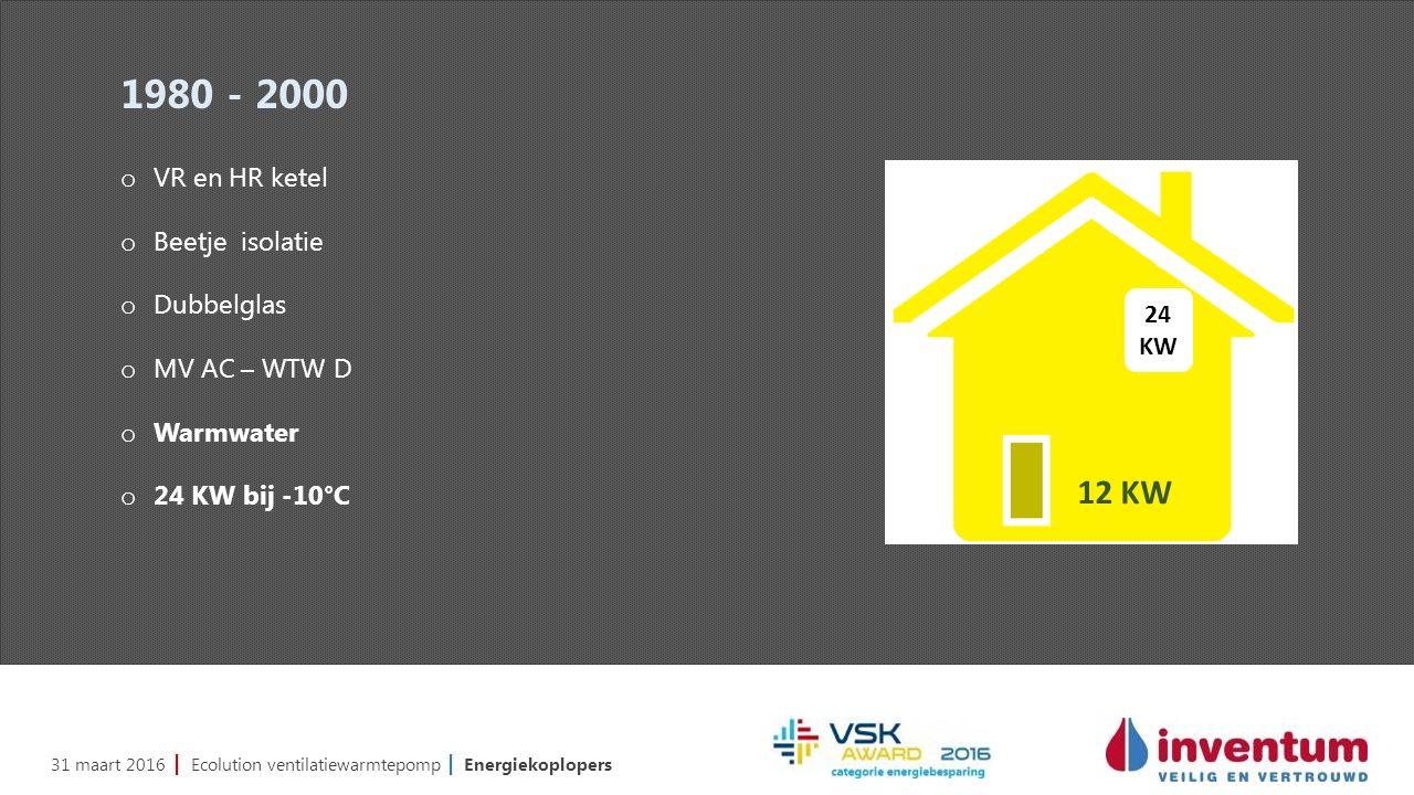 31 maart 2016 | Ecolution ventilatiewarmtepomp | Energiekoplopers 1980 - 2000 o VR en HR ketel o Beetje isolatie o Dubbelglas o MV AC – WTW D o Warmwater o 24 KW bij -10°C 24 KW 12 KW