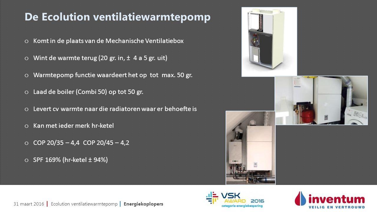 31 maart 2016 | Ecolution ventilatiewarmtepomp | Energiekoplopers De Ecolution ventilatiewarmtepomp o Komt in de plaats van de Mechanische Ventilatiebox o Wint de warmte terug (20 gr.