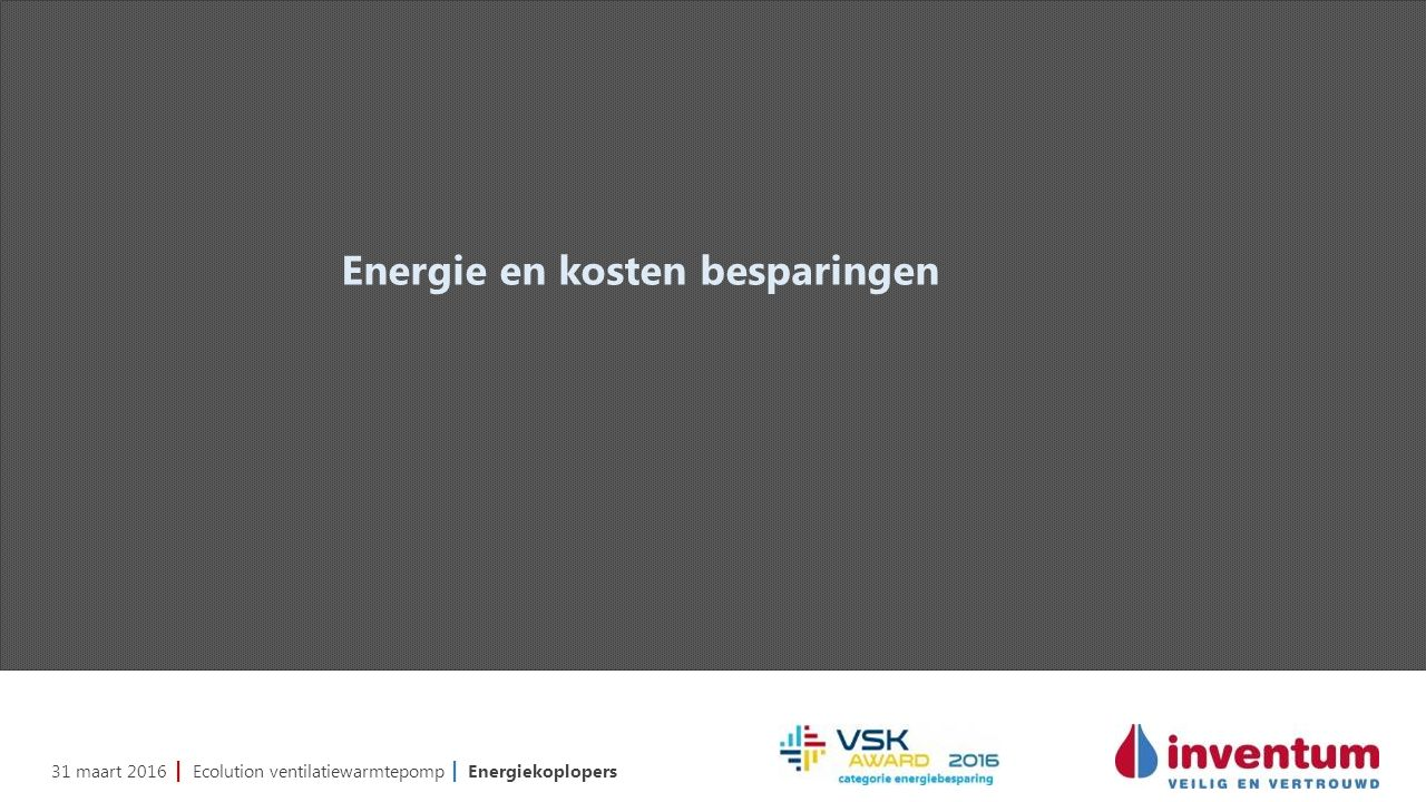31 maart 2016 | Ecolution ventilatiewarmtepomp | Energiekoplopers Energie en kosten besparingen