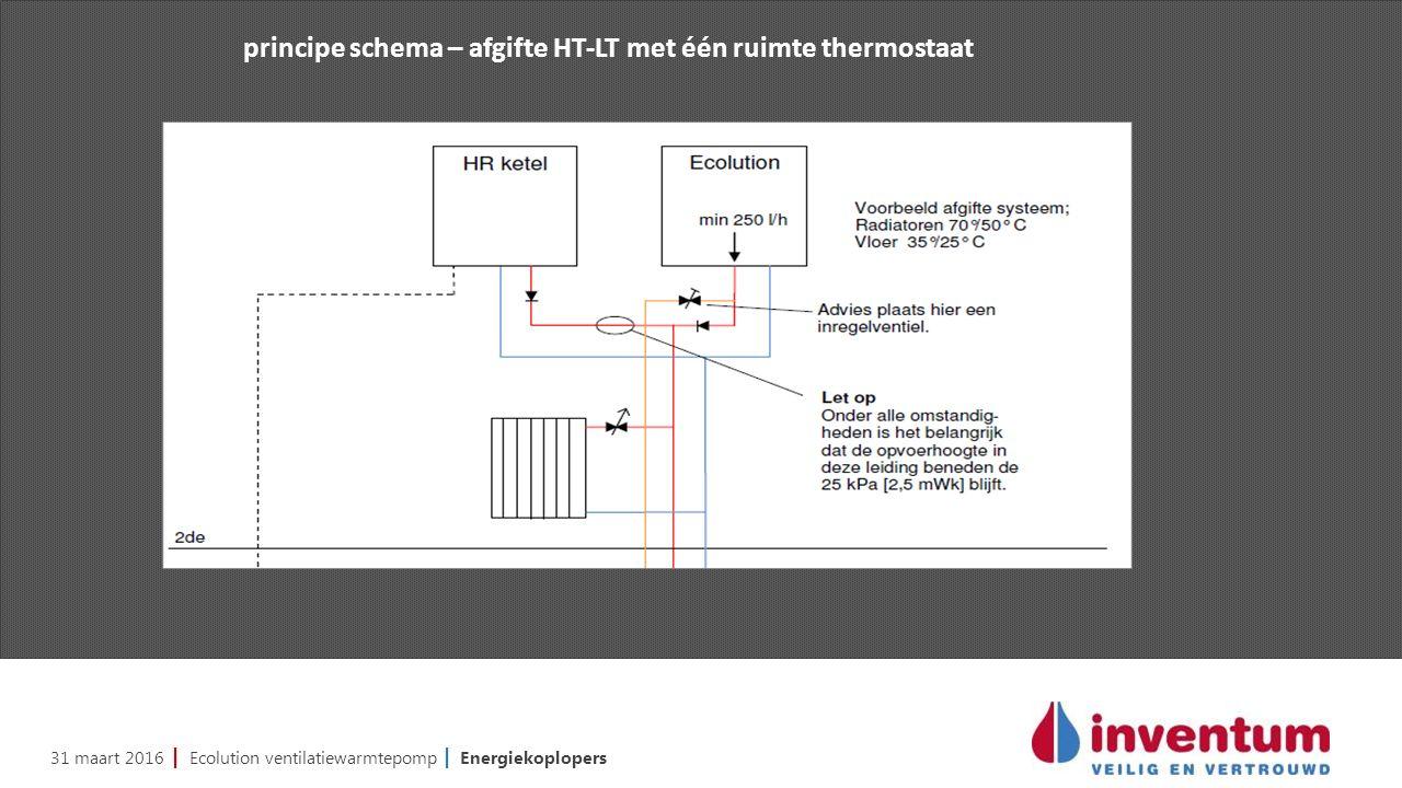 31 maart 2016 | Ecolution ventilatiewarmtepomp | Energiekoplopers principe schema – afgifte HT-LT met één ruimte thermostaat