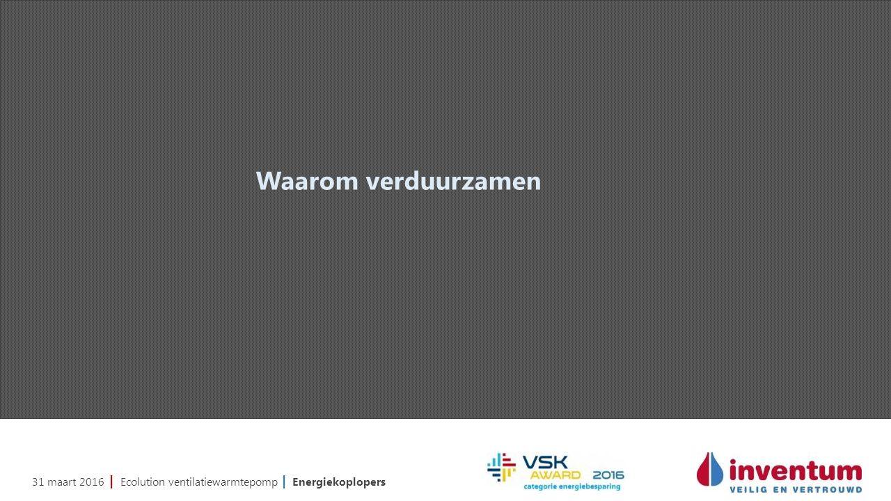 31 maart 2016 | Ecolution ventilatiewarmtepomp | Energiekoplopers Waarom verduurzamen