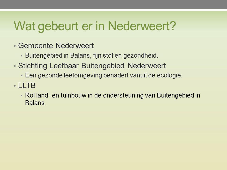 Wat gebeurt er in Nederweert. Gemeente Nederweert Buitengebied in Balans, fijn stof en gezondheid.