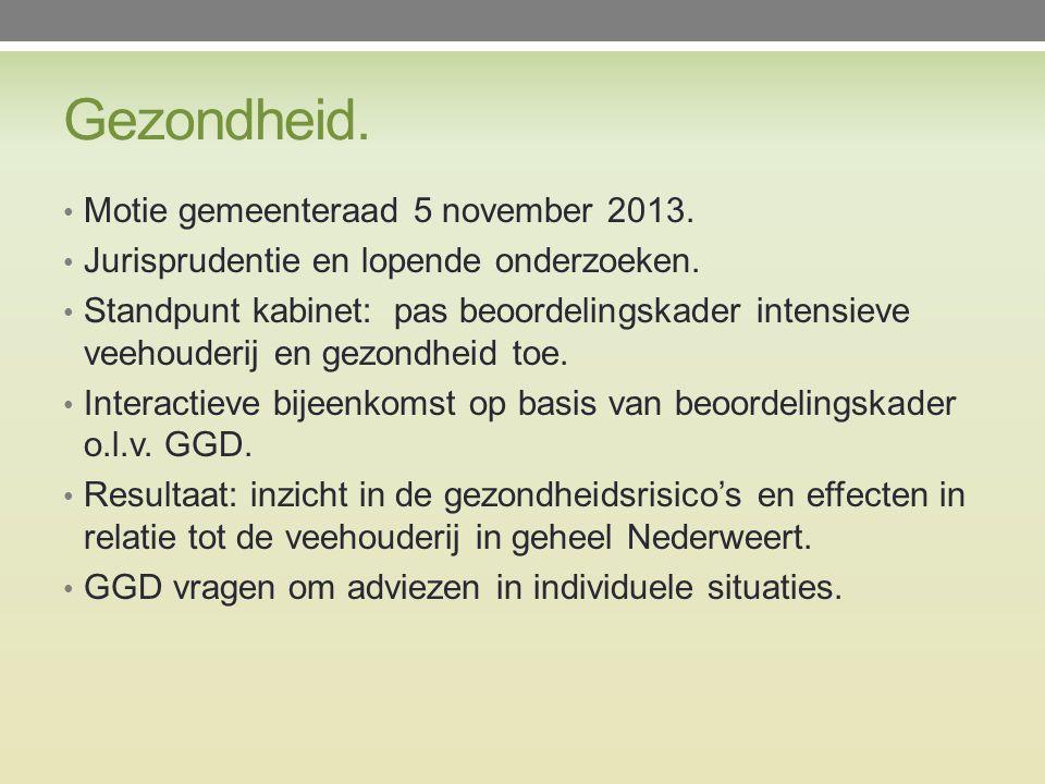 Gezondheid. Motie gemeenteraad 5 november 2013. Jurisprudentie en lopende onderzoeken.