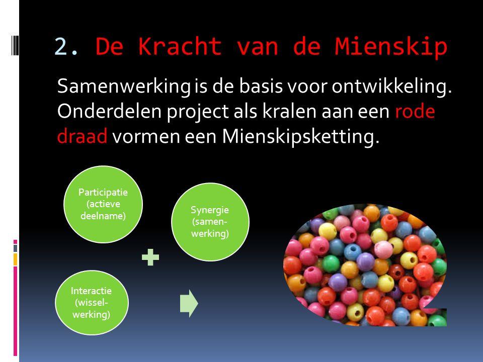 2. De Kracht van de Mienskip Samenwerking is de basis voor ontwikkeling. Onderdelen project als kralen aan een rode draad vormen een Mienskipsketting.