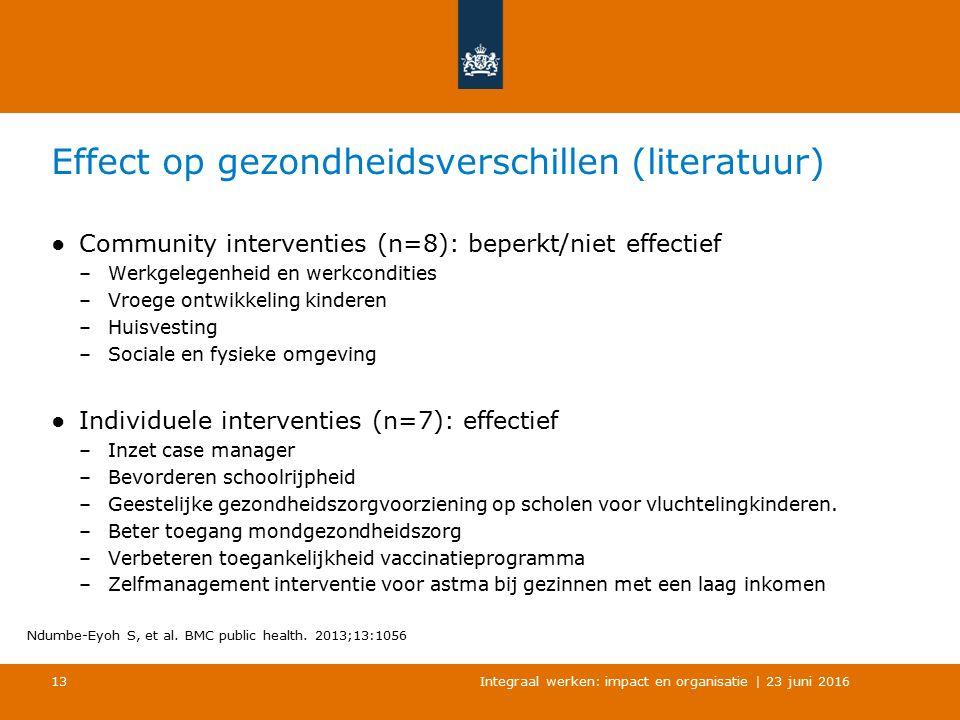 Effect op gezondheidsverschillen (literatuur) ●Community interventies (n=8): beperkt/niet effectief –Werkgelegenheid en werkcondities –Vroege ontwikke