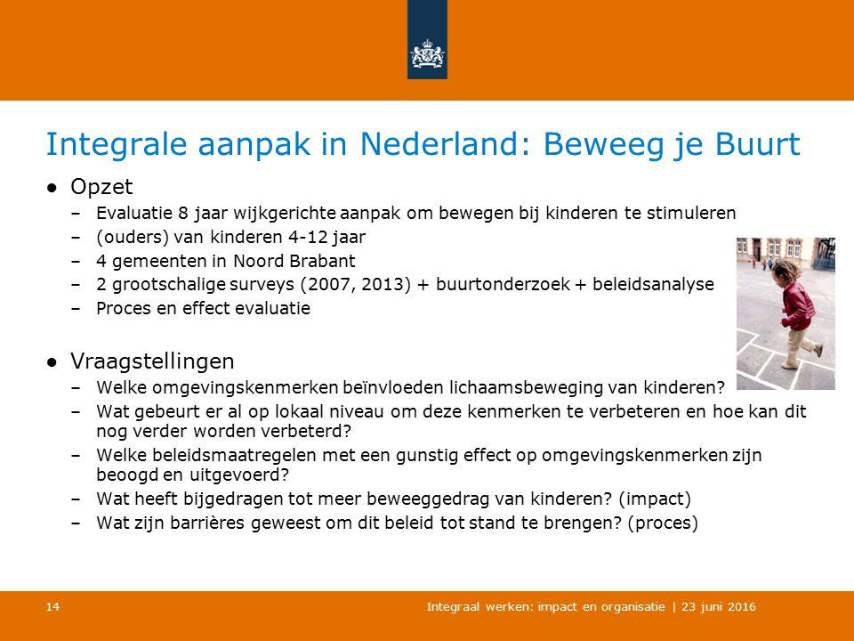 Integrale aanpak in Nederland: Beweeg je Buurt ●Opzet –Evaluatie 8 jaar wijkgerichte aanpak om bewegen bij kinderen te stimuleren –(ouders) van kinderen 4-12 jaar –4 gemeenten in Noord Brabant –2 grootschalige surveys (2007, 2013) + buurtonderzoek + beleidsanalyse –Proces en effect evaluatie ●Vraagstellingen –Welke omgevingskenmerken beïnvloeden lichaamsbeweging van kinderen.