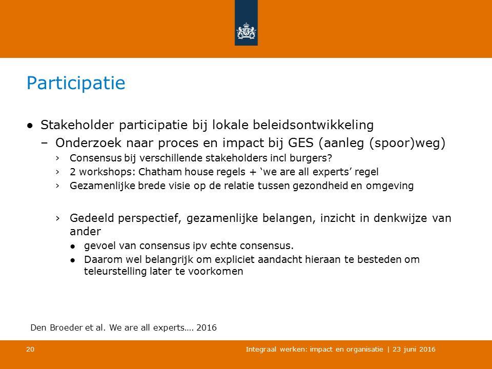Participatie ●Stakeholder participatie bij lokale beleidsontwikkeling –Onderzoek naar proces en impact bij GES (aanleg (spoor)weg) ›Consensus bij verschillende stakeholders incl burgers.