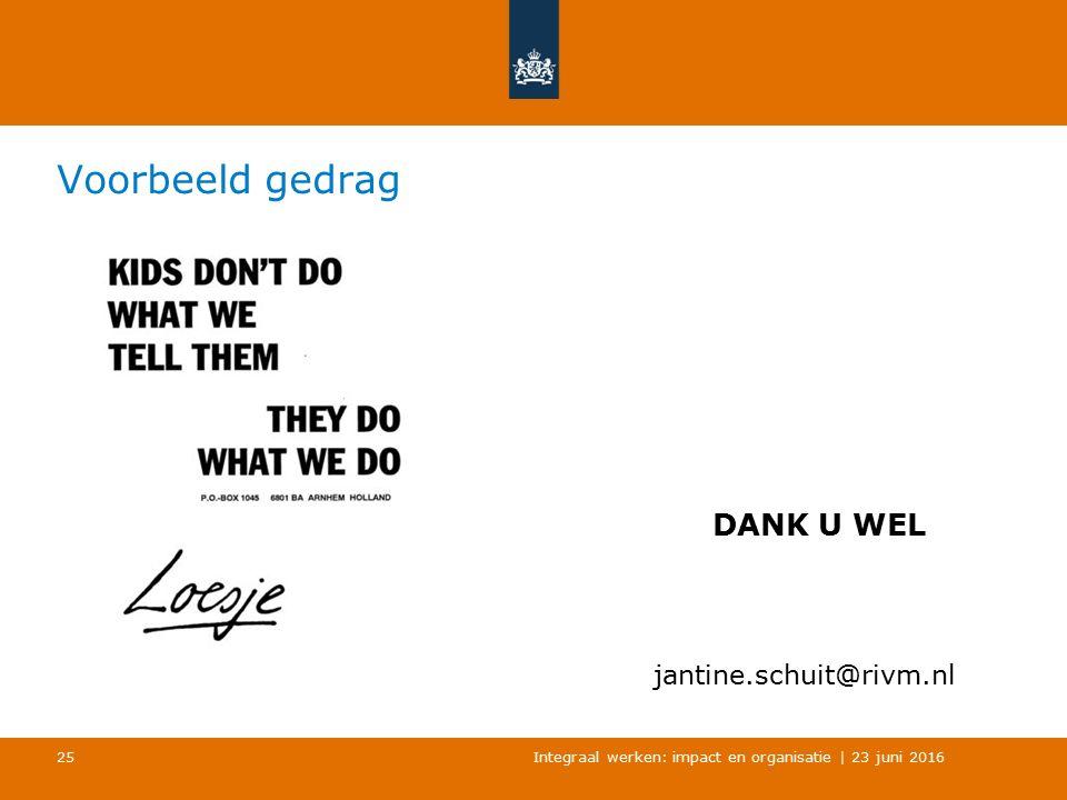 Voorbeeld gedrag Integraal werken: impact en organisatie | 23 juni 2016 25 DANK U WEL jantine.schuit@rivm.nl