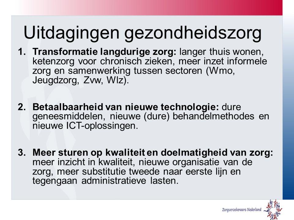 Uitdagingen gezondheidszorg 1.Transformatie langdurige zorg: langer thuis wonen, ketenzorg voor chronisch zieken, meer inzet informele zorg en samenwerking tussen sectoren (Wmo, Jeugdzorg, Zvw, Wlz).