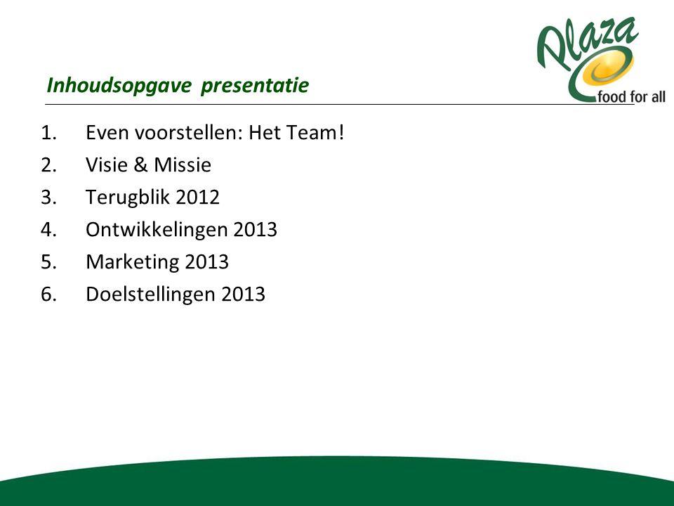 1.Even voorstellen: Het Team! 2.Visie & Missie 3.Terugblik 2012 4.Ontwikkelingen 2013 5.Marketing 2013 6.Doelstellingen 2013 Inhoudsopgave presentatie
