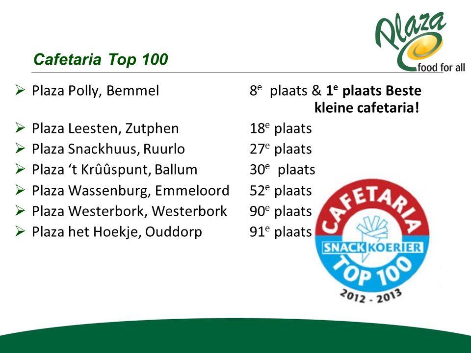  Plaza Polly, Bemmel 8 e plaats & 1 e plaats Beste kleine cafetaria!  Plaza Leesten, Zutphen 18 e plaats  Plaza Snackhuus, Ruurlo27 e plaats  Plaz