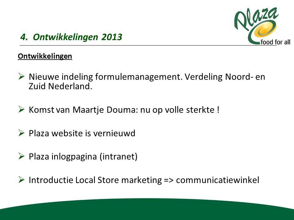 Ontwikkelingen  Nieuwe indeling formulemanagement. Verdeling Noord- en Zuid Nederland.  Komst van Maartje Douma: nu op volle sterkte !  Plaza websi