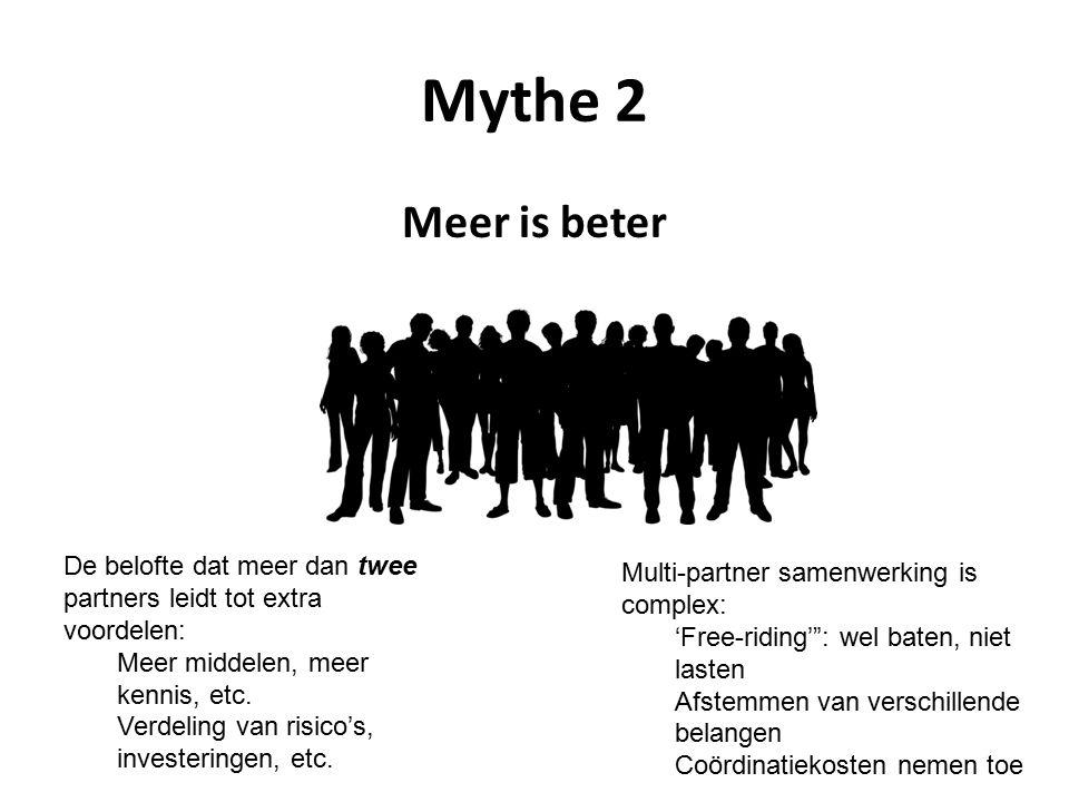 Mythe 2 Meer is beter De belofte dat meer dan twee partners leidt tot extra voordelen: Meer middelen, meer kennis, etc. Verdeling van risico's, invest