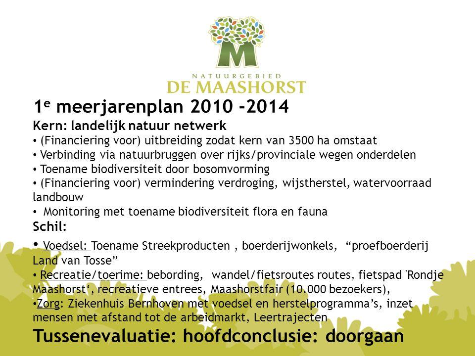 1 e meerjarenplan 2010 -2014 Kern: landelijk natuur netwerk (Financiering voor) uitbreiding zodat kern van 3500 ha omstaat Verbinding via natuurbrugge