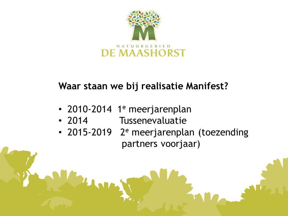 Waar staan we bij realisatie Manifest? 2010-2014 1 e meerjarenplan 2014 Tussenevaluatie 2015-2019 2 e meerjarenplan (toezending partners voorjaar)