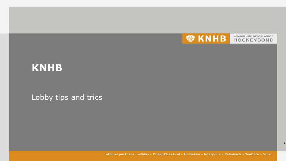 KNHB Lobby tips and trics 1