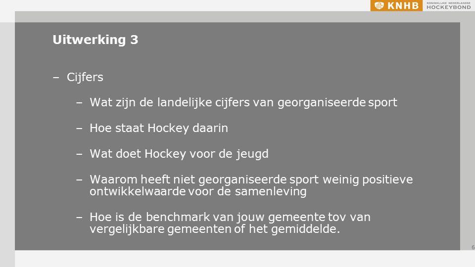 Uitwerking 3 –Cijfers –Wat zijn de landelijke cijfers van georganiseerde sport –Hoe staat Hockey daarin –Wat doet Hockey voor de jeugd –Waarom heeft niet georganiseerde sport weinig positieve ontwikkelwaarde voor de samenleving –Hoe is de benchmark van jouw gemeente tov van vergelijkbare gemeenten of het gemiddelde.