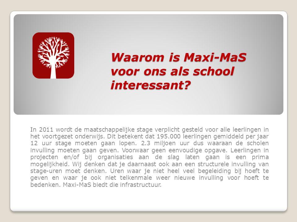Waarom is Maxi-MaS voor ons als school interessant.