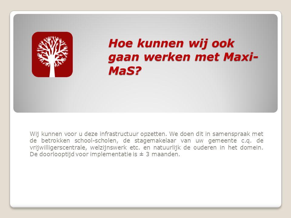 Hoe kunnen wij ook gaan werken met Maxi- MaS. Wij kunnen voor u deze infrastructuur opzetten.