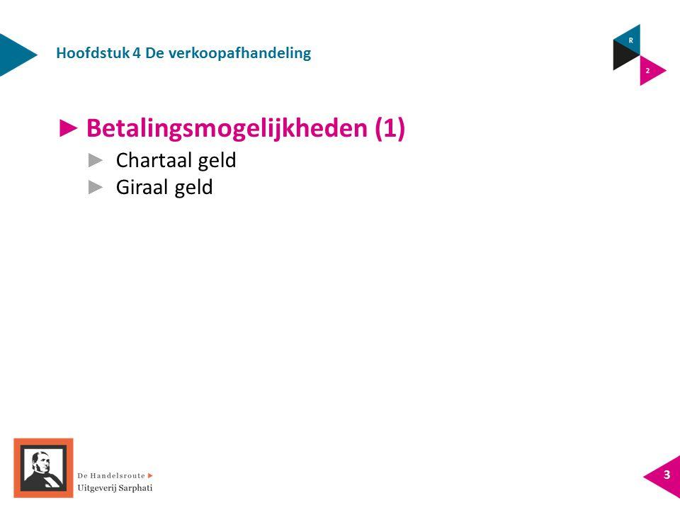 Hoofdstuk 4 De verkoopafhandeling 3 ► Betalingsmogelijkheden (1) ► Chartaal geld ► Giraal geld