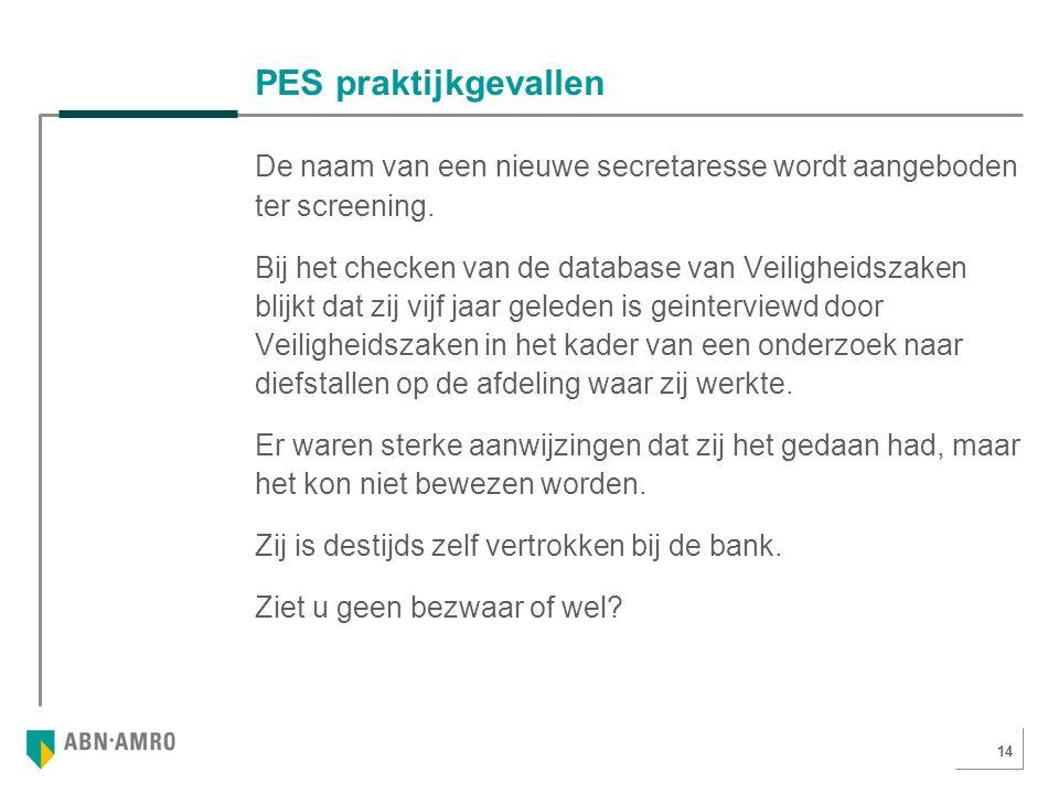 14 PES praktijkgevallen De naam van een nieuwe secretaresse wordt aangeboden ter screening.