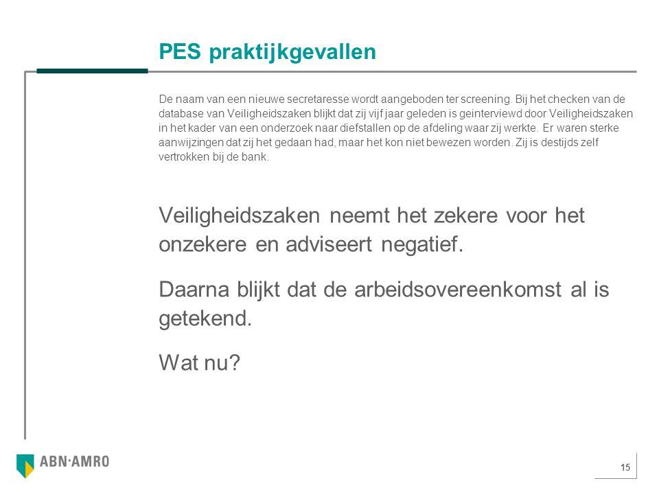 15 PES praktijkgevallen De naam van een nieuwe secretaresse wordt aangeboden ter screening.