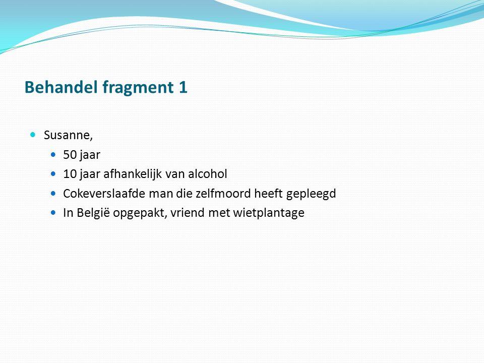 Behandel fragment 1 Susanne, 50 jaar 10 jaar afhankelijk van alcohol Cokeverslaafde man die zelfmoord heeft gepleegd In België opgepakt, vriend met wi