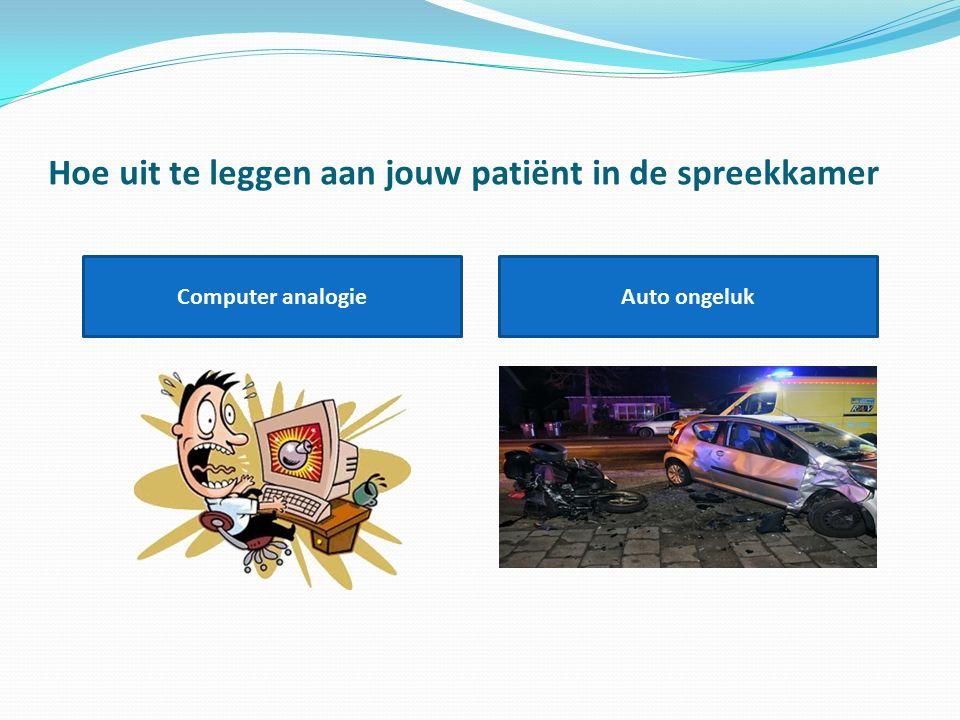 Hoe uit te leggen aan jouw patiënt in de spreekkamer Computer analogieAuto ongeluk