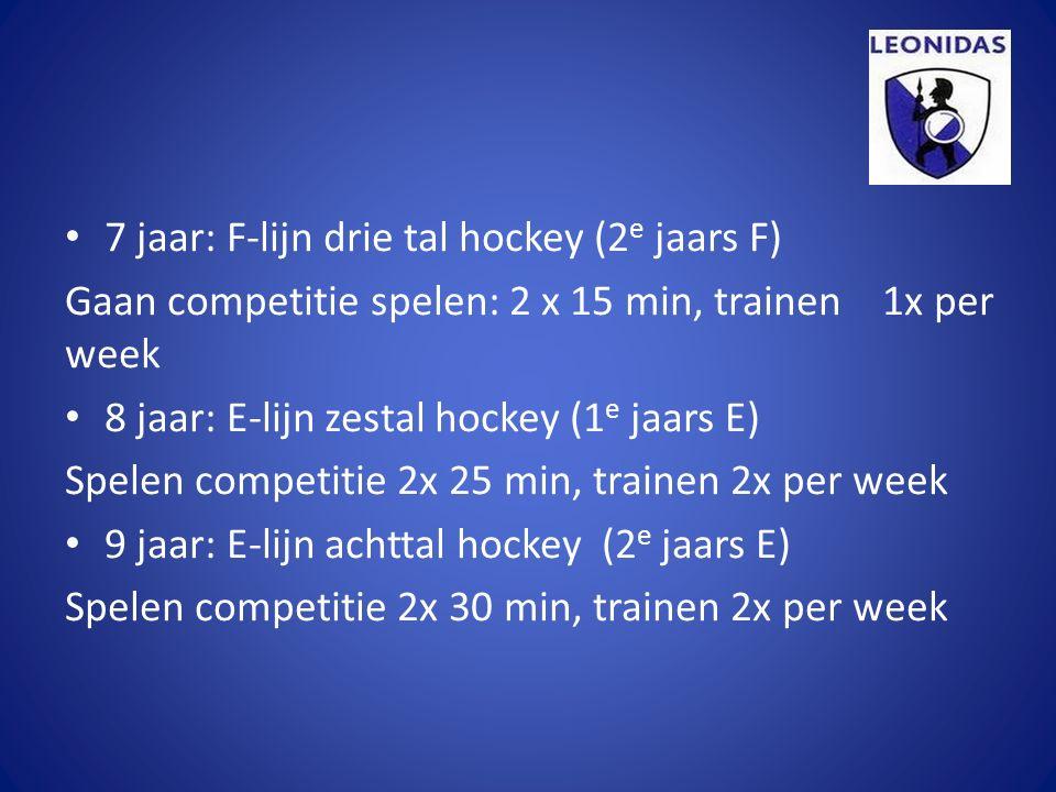 7 jaar: F-lijn drie tal hockey (2 e jaars F) Gaan competitie spelen: 2 x 15 min, trainen 1x per week 8 jaar: E-lijn zestal hockey (1 e jaars E) Spelen