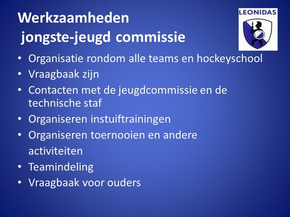Werkzaamheden jongste-jeugd commissie Organisatie rondom alle teams en hockeyschool Vraagbaak zijn Contacten met de jeugdcommissie en de technische st