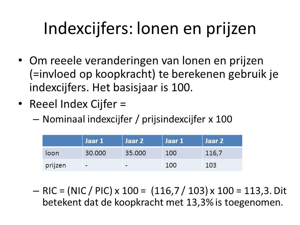 Indexcijfers: lonen en prijzen Om reeele veranderingen van lonen en prijzen (=invloed op koopkracht) te berekenen gebruik je indexcijfers.