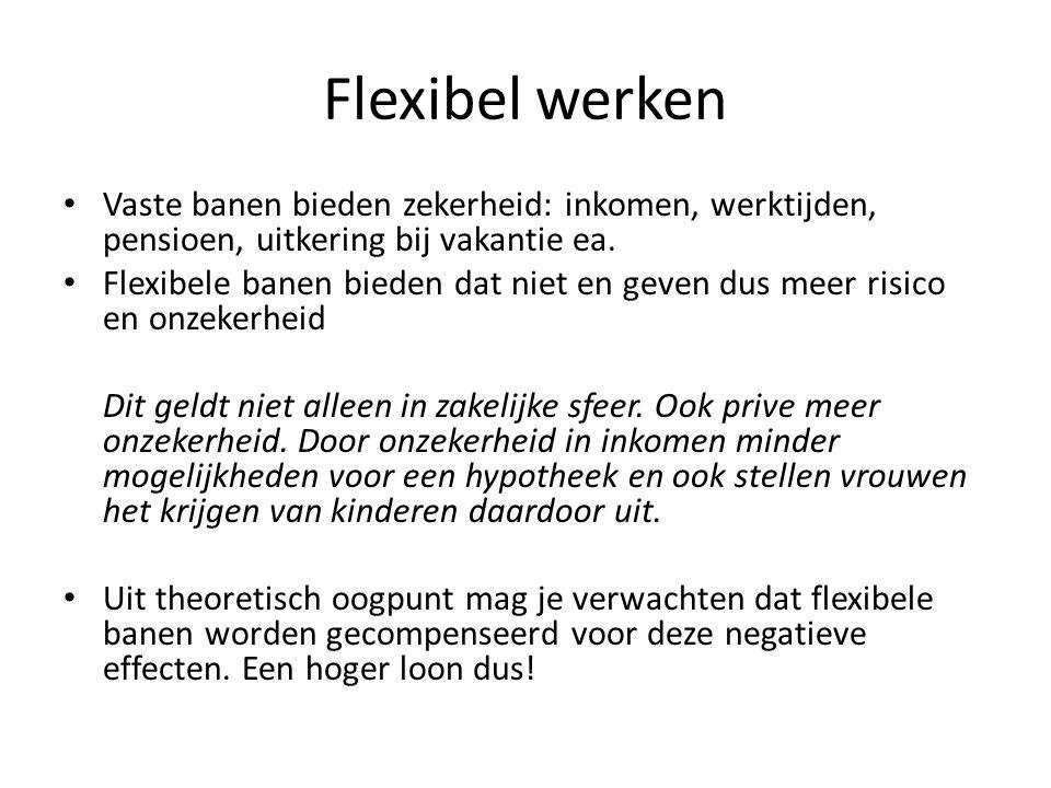 Flexibel werken Vaste banen bieden zekerheid: inkomen, werktijden, pensioen, uitkering bij vakantie ea.
