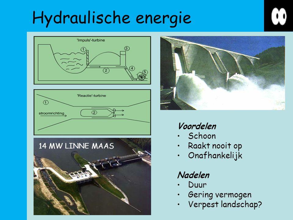 Hydraulische energie Voordelen Schoon Raakt nooit op Onafhankelijk Nadelen Duur Gering vermogen Verpest landschap.