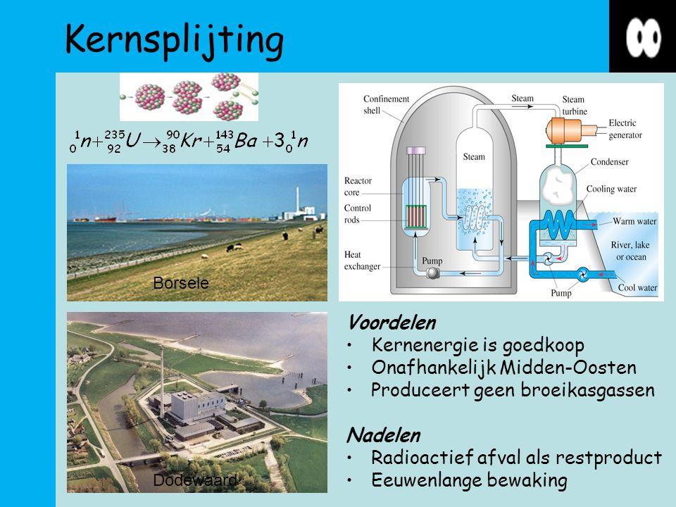 Kernsplijting Voordelen Kernenergie is goedkoop Onafhankelijk Midden-Oosten Produceert geen broeikasgassen Nadelen Radioactief afval als restproduct Eeuwenlange bewaking Borsele Dodewaard