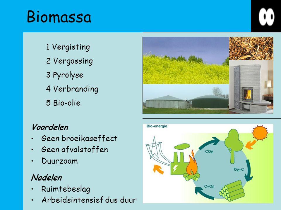 Biomassa Voordelen Geen broeikaseffect Geen afvalstoffen Duurzaam Nadelen Ruimtebeslag Arbeidsintensief dus duur 1 Vergisting 2 Vergassing 3 Pyrolyse 4 Verbranding 5 Bio-olie