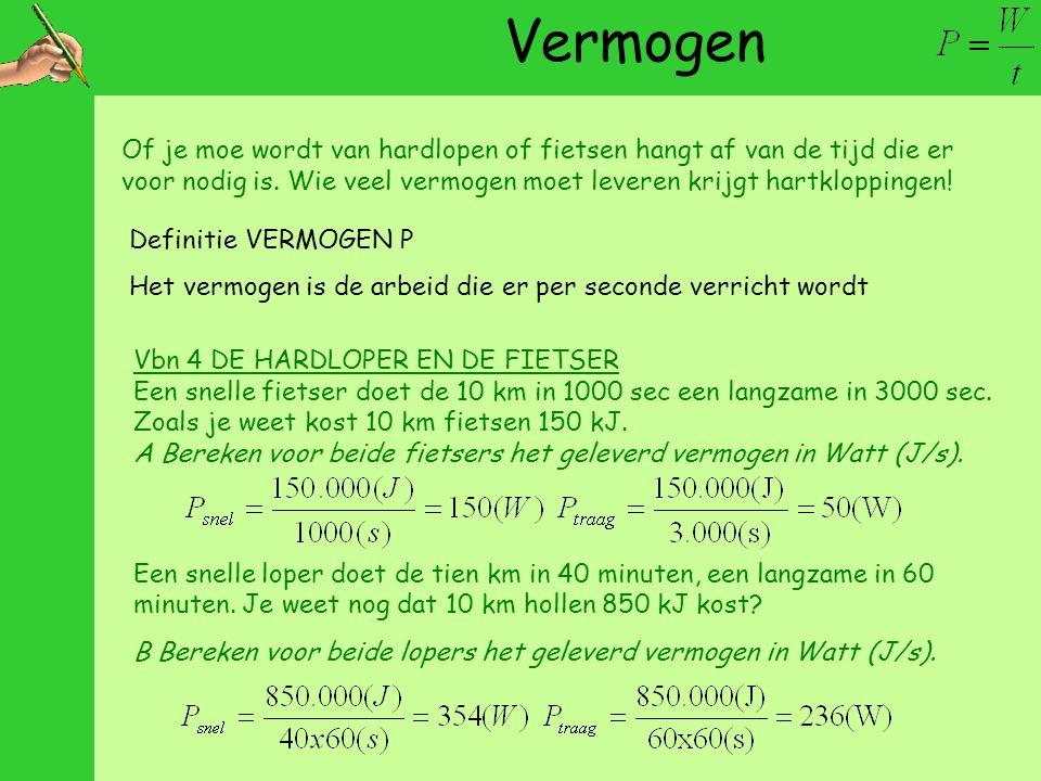 Vermogen Definitie VERMOGEN P Het vermogen is de arbeid die er per seconde verricht wordt Vbn 4 DE HARDLOPER EN DE FIETSER Een snelle fietser doet de 10 km in 1000 sec een langzame in 3000 sec.