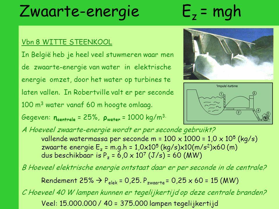 Zwaarte-energie E z = mgh Vbn 8 WITTE STEENKOOL In België heb je heel veel stuwmeren waar men de zwaarte-energie van water in elektrische energie omzet, door het water op turbines te laten vallen.