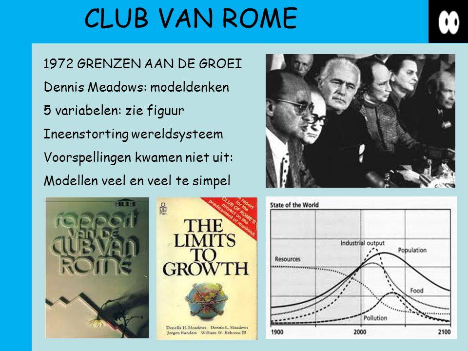 CLUB VAN ROME 1972 GRENZEN AAN DE GROEI Dennis Meadows: modeldenken 5 variabelen: zie figuur Ineenstorting wereldsysteem Voorspellingen kwamen niet uit: Modellen veel en veel te simpel